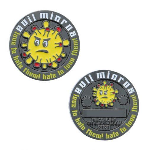 Evil Micro 2020 Geocoin Geocaching Micro Coin Münze Nummer OAK
